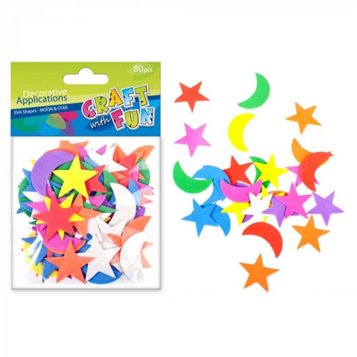 Kreatív Habszivacs, csillag/hold formák, 80 db/csomag