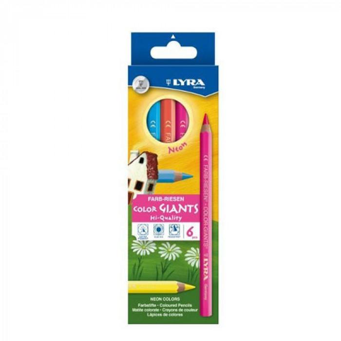 Lyra - Color-Giants Színes ceruza, hatszögletű, lakkozott, vastag, neon, 6 db-os