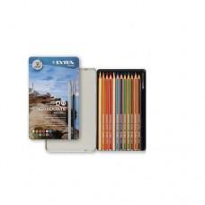 Lyra - Graduate Aquarell Színes ceruza készlet, fémdobozos, 12 db-os
