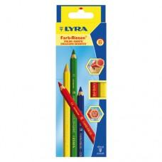 Lyra - Color-Giants Színes ceruza készlet, 6 db-os, hatszögletű, natúr, vastag, lakkozott