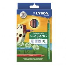 Lyra - Color-Giants Színes ceruza készlet, 12 db-os, hatszögletű, natúr, vastag, lakkozott